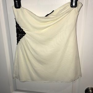 Strapless shirt with lace detail